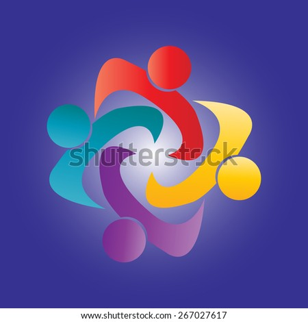 Colorful design of people symbols working as team. This Vector can represent unity and solidarity in group or team of people, excellent teamwork. - stock vector