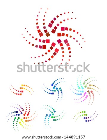 Colorful design square star and round logo element. Abstract swirl circle vector template set. Fire flower icon. - stock vector
