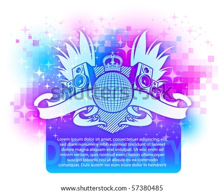 Colorful design with musical disco heraldry - stock vector