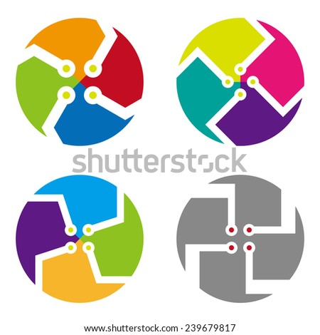 Colorful digital icon set. Abstract  round logo element. You can use in the machine, chips, electronics, and communication concept of pattern.  - stock vector