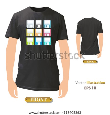 Colorful diskettes printed on black shirt. Vector design. - stock vector