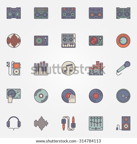 Colorful DJ icons set - vector collection of flat DJ music signs or logo elements - stock vector