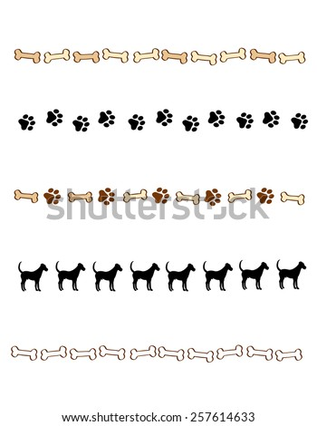 Colorful dog themed web site divider collection. - stock vector