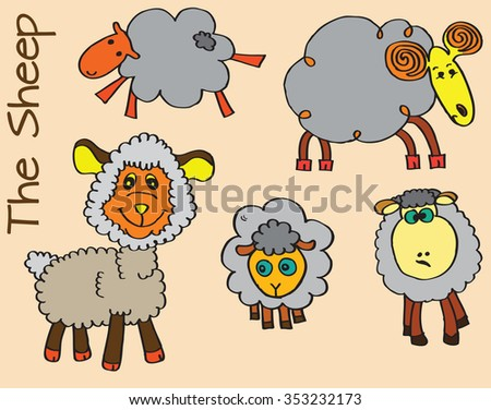 colorful Doodle Sketchy Sheep Lamb or happy Sheep illustration - stock vector