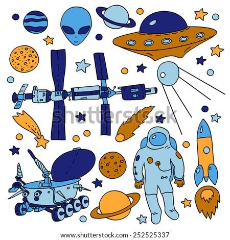 Colorful doodle space elements collection: ISS, moonwalker, planet, comet, moon, astronaut, alien, UFO. Vector illustration - stock vector