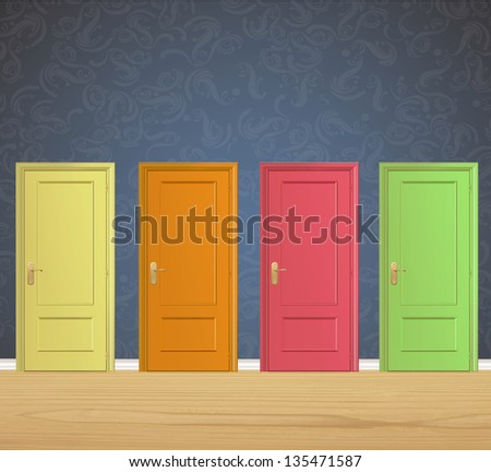 Colorful doors on vintage wall background. Vector design. - stock vector