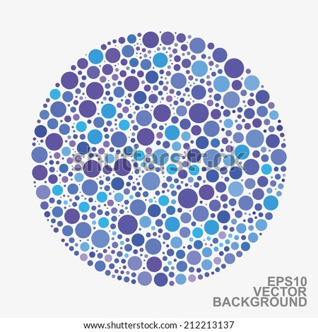 Colorful Dotted Abstract Background - Blue Circles - stock vector