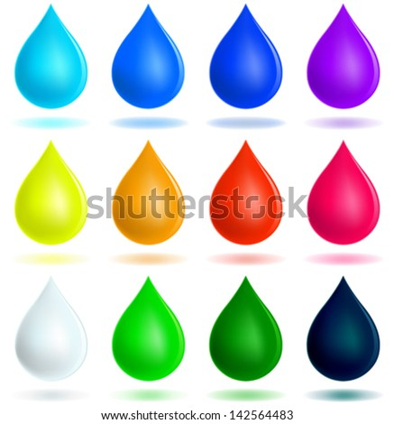 Colorful drops set - stock vector