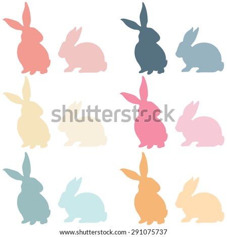 Colorful Easter Bunny Silhouette - stock vector