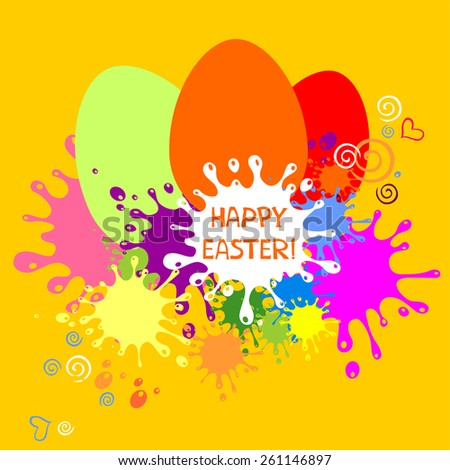 Colorful Easter card. Yellow blots background. Vector Illustration  - stock vector