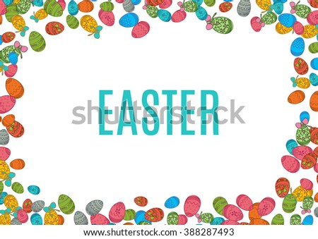 Colorful easter egg isolated on white background. Vector illustration for bright seasonal design. Many color food. Abstract holiday horizontal frame border. Greeting ostern decoration. April paint - stock vector