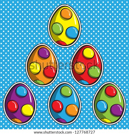 Colorful Easter Eggs - every egg on separate layer - stock vector