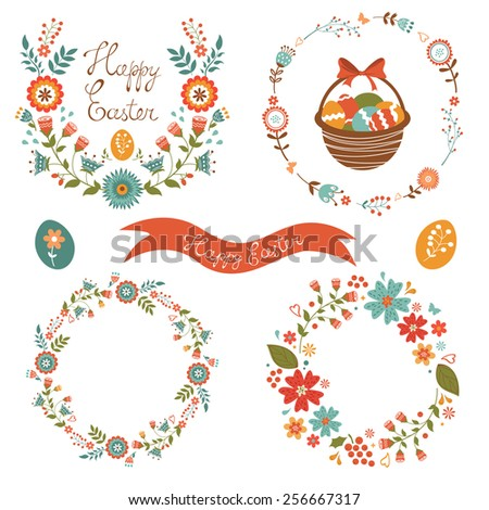 Colorful Easter laurels and wreaths collection. Vector illustration - stock vector