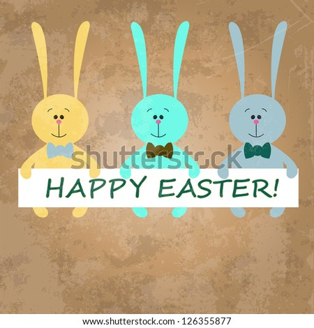 Colorful Easter rabbits on old paper background - stock vector
