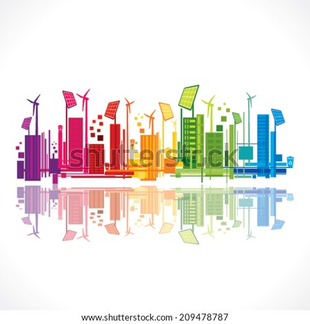 colorful ecology or renewable energy city background vector - stock vector