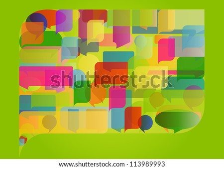Colorful ecology speech bubbles and balloons leaf cloud illustration background vector - stock vector