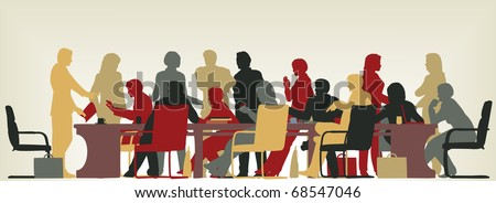 Colorful editable vector foreground silhouette of people in a meeting - stock vector