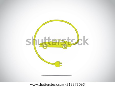 colorful electric hybrid car with charger plug connected concept icon symbol. green colored car with cable charger plug from the car illustration art - stock vector