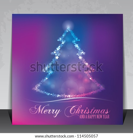 Colorful elegant christmas greeting card with stars and christmas tree - stock vector