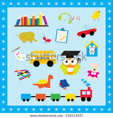 Colorful elements toys for kids. Illustration icon toys use to learn for children. - stock vector