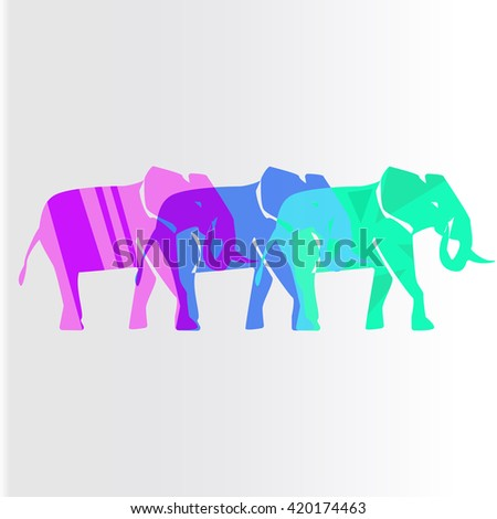 Colorful elephants isolated silhouette icon - stock vector