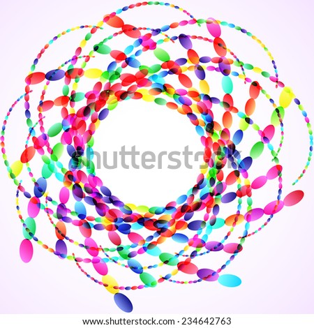 Colorful ellipses swirl abstract illustration, design element - stock vector