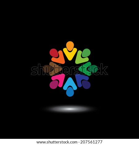 colorful employees & executives together in meetings - vector graphic. This illustration also represents students community, workers union, children playing, excited people, friendship, unity - stock vector