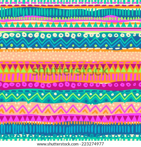 Colorful ethnic stripe seamless background - stock vector