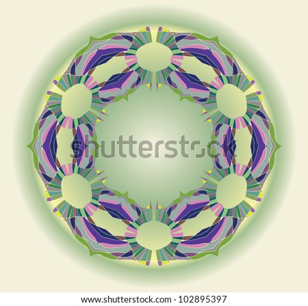 Colorful ethnicity round ornament, mosaic vector illustration in green and blue colors - stock vector