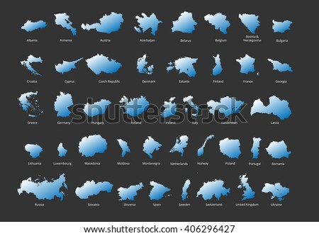 Colorful European countries political map with clearly labeled, separated layers. Vector illustration. - stock vector