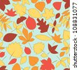 Colorful falling autumn leaves seamless pattern, vector - stock vector