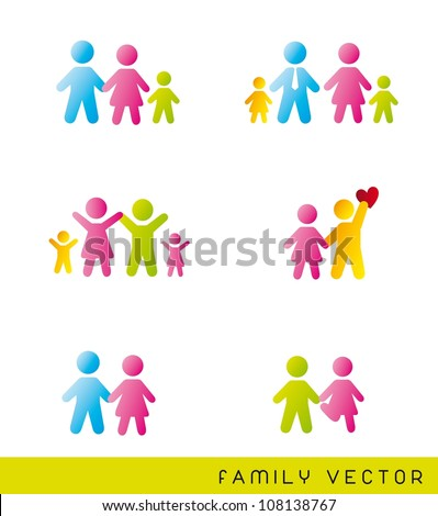 colorful families over white background. vector illustration - stock vector