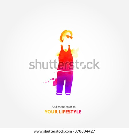Colorful fashin design, watercolor design, Man standing in colorful clothes - stock vector