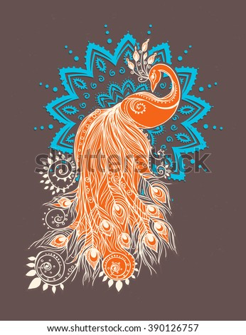 Colorful fashion card with peacock Color bird for the design of textiles, clothing, T-shirts, wallpaper, print, wall stickers. Decoration pattern. Stylish hand drawn map with peacock paisley oriental - stock vector