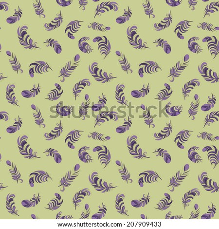 colorful feathers seamless pattern - stock vector