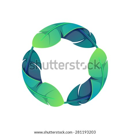 Colorful feathers set, vector design vector template. Triple infinity loop logo design template. - stock vector