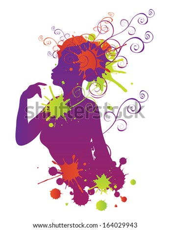 Colorful female silhouette with swirls and splatters on white background. - stock vector