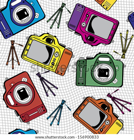 colorful film photo cameras vector seamless pattern - stock vector