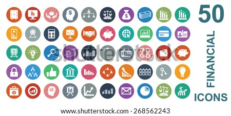 Colorful Financial Icon Set  - stock vector