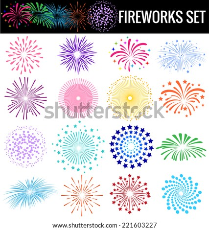 Colorful Fireworks on white background - stock vector