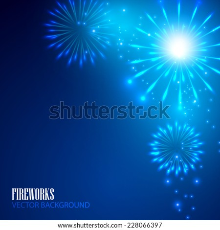 Colorful fireworks. Vector illustration - stock vector