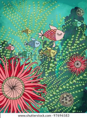 Colorful Fish - Aquarium or a Deep Sea Fish swimming around the coral reefs, seaweed, plankton and sea flora - stock vector