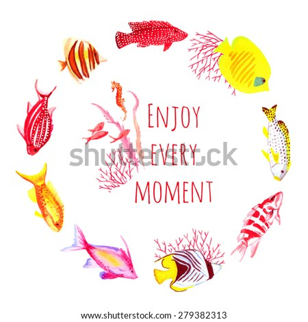 Colorful fishes watercolor vector design round frame. All elements are isolated and editable. - stock vector