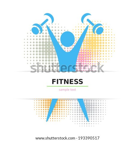Colorful fitness card with figure and halftone design - stock vector