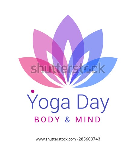 Colorful five-petals Lotus flower as symbol of yoga. Sample text - Yoga day, body and mind. Vector illustration for yoga event, school, club, web. - stock vector