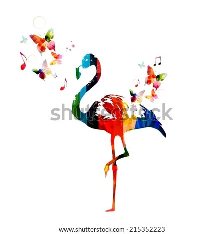 Colorful flamingo design  - stock vector
