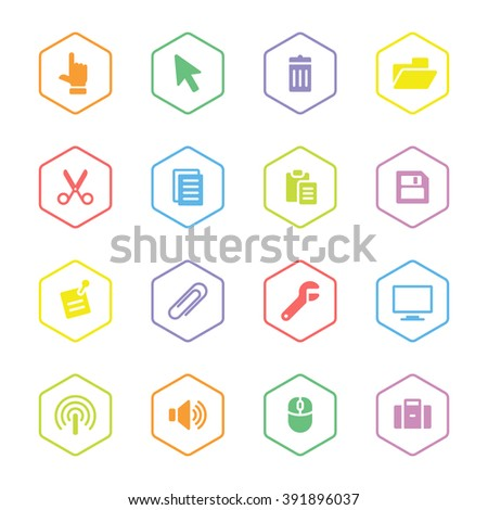 colorful flat computer and technology icon set with hexagon frame for web design, user interface (UI), infographic and mobile application (apps) - stock vector