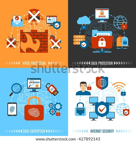 Colorful Flat Internet Security Concept Set. Vector illustration - stock vector