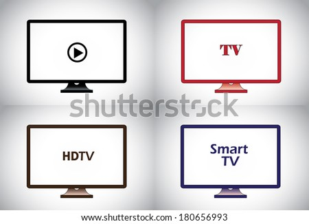 colorful flat, lcd, hd, smart plasma tv television icon set. different colored wide screen television collection concept illustration - stock vector