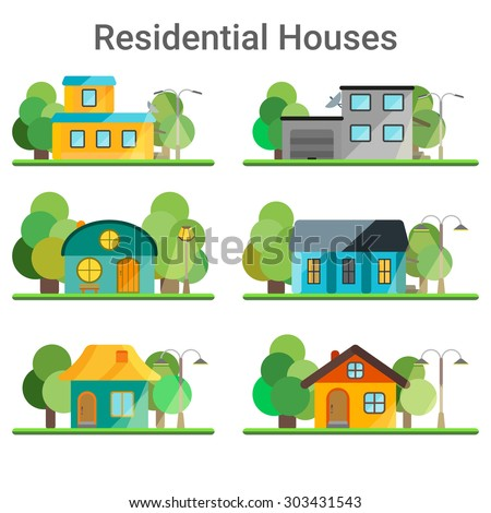Colorful Flat Residential Houses. Houses set with trees and lampposts. - stock vector